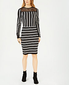 Bar III Striped Mesh-Inset Dress, Created for Macy's