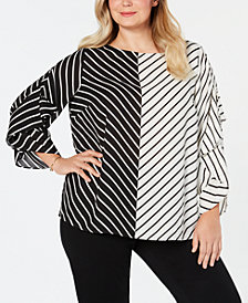 Alfani Plus Size Colorblocked Ruffle-Sleeve Top, Created for Macy's