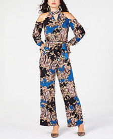 Thalia Sodi Printed Cold-Shoulder Jumpsuit, Created for Macy's