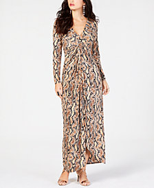 Thalia Sodi Printed Draped Maxi Dress, Created for Macy's