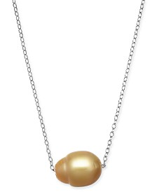 "Baroque Cultured Golden South Sea Pearl (12mm) 18"" Pendant Necklace in Sterling Silver"