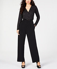 Thalia Sodi Belted Sparkle Jumpsuit, Created for Macy's