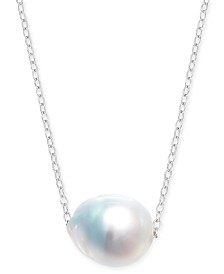 "Baroque Cultured White South Sea Pearl (12mm) 18"" Pendant Necklace in Sterling Silver"