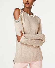 I.N.C. Embellished Cold-Shoulder Sweater, Created for Macy's
