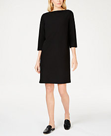 Eileen Fisher Washable Crepe Boat-Neck Shift Dress