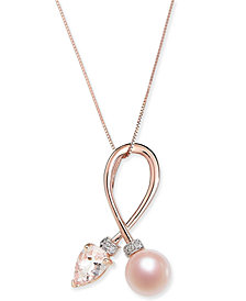 "Pink Cultured Freshwater Pearl (7mm), Morganite (5/8 ct. t.w.) & Diamond Accent 18"" Pendant Necklace in 14k Rose Gold"
