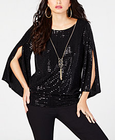 Thalia Sodi Sequined Necklace Top, Created for Macy's