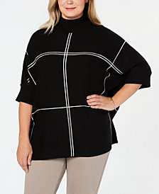 Alfani Plus Size Grid Pattern Turtleneck Poncho Sweater, Created for Macy's