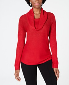 NY Collection Petite Metallic-Threaded Cowl-Neck Sweater