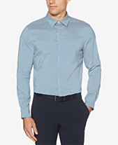 7e45f754 Perry Ellis Men's Slim-Fit Performance Stretch Quick-Dry Check Shirt