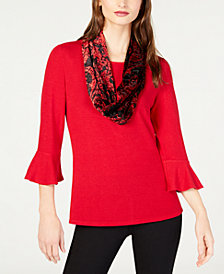 NY Collection Petite Scarf-Neck Bell-Sleeve Top