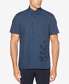 Perry Ellis Men's Regular-Fit Yarn-Dyed Stripe Floral-Print Shirt