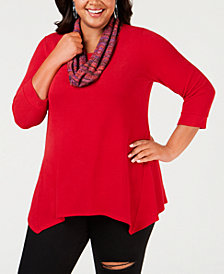 NY Collection Plus Size Handkerchief-Hem Top & Printed Scarf