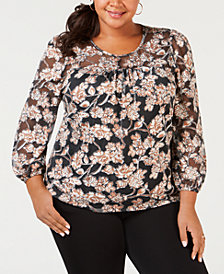 NY Collection Plus Size Printed Peasant Top