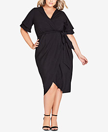 City Chic Trendy Plus Size Layered-Sleeve Faux-Wrap Dress