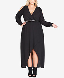 City Chic Trendy Plus Size Belted High-Low Maxi Dress