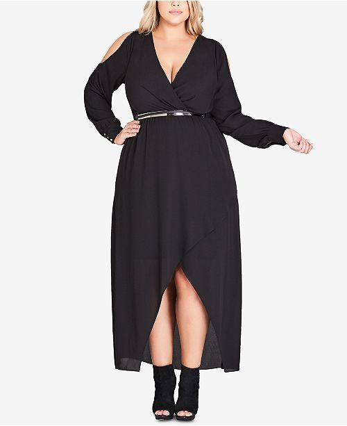 City Chic Trendy Plus Size Belted High-Low Maxi Dress - Trendy Plus ...