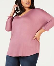 Celebrity Pink Trendy Plus Size V-Neck Top
