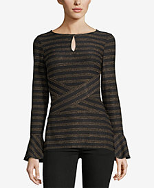 ECI Metallic Striped Keyhole Top