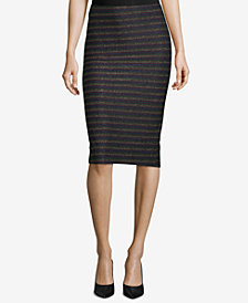 ECI Metallic Striped Pull-On Pencil Skirt