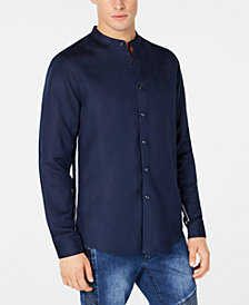 I.N.C. Men's Side Linen Stripe Band-Collar Shirt, Created for Macy's