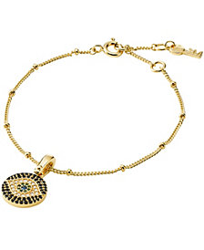 Michael Kors Custom Kors Women 14K Gold-Plated Sterling Silver Evil Eye Bracelet