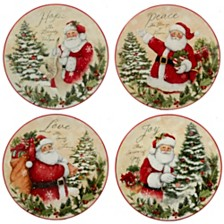 Certified International Holiday Wishes 4-Pc. Dessert Plate asst.