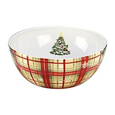 Holiday Wishes Plaid Serving Bowl