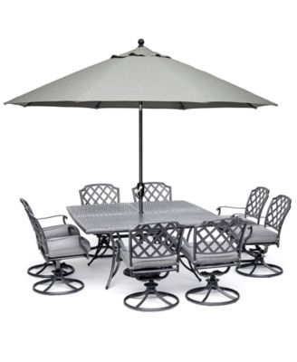"""Grove Hill II Outdoor Cast Aluminum 9-Pc. Dining Set (64"""" X 64"""" Square Table & 8 Swivel Chairs) With Sunbrella® Cushions, Created for Macy's"""