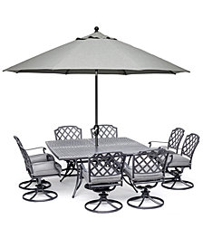 "Grove Hill II Outdoor Cast Aluminum 9-Pc. Dining Set (64"" X 64"" Square Table & 8 Swivel Chairs) With Sunbrella® Cushions, Created for Macy's"