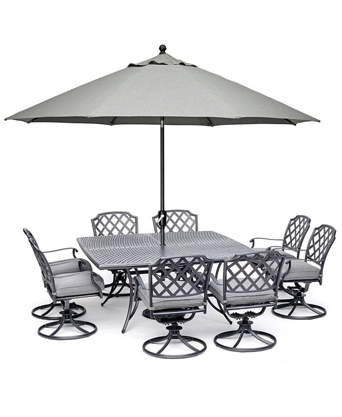 """Furniture - Grove Hill II Outdoor Aluminum 9-Pc. Dining Set (64"""" X 64"""" Square Table & 8 Swivel Chairs) With Sunbrella® Cushions"""