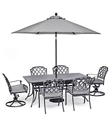 "Vintage II Outdoor Cast Aluminum 7-Pc. Dining Set (72"" X 38"" Table, 4 Dining Chairs & 2 Swivel Chairs) With Sunbrella® Cushions, Created for Macy's"