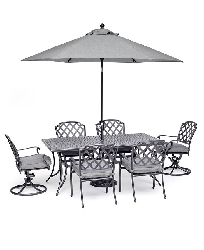 """Furniture - Vintage II Outdoor Cast Aluminum 7-Pc. Dining Set (72"""" X 38"""" Table, 4 Dining Chairs & 2 Swivel Chairs) With Sunbrella® Cushions, Created For Macy's"""