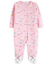 Baby Girls Unicorn-Print Cotton Coverall