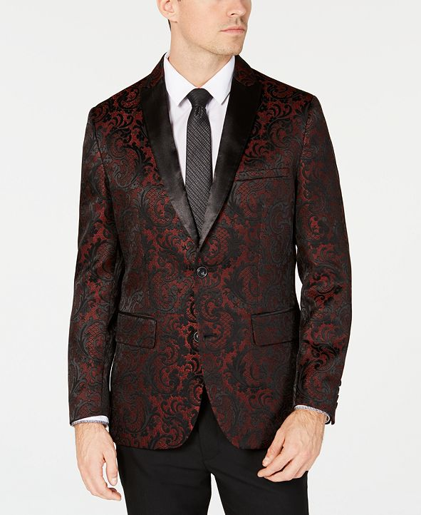 INC International Concepts INC Men's Slim-Fit Jacquard Blazer, Created for Macy's