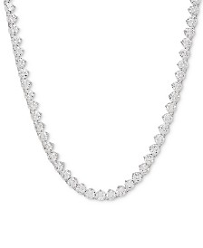 "Cubic Zirconia 17"" Link Necklace in Sterling Silver"