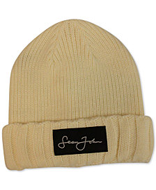 Sean John Men's Woven Label Double Roll Cuff Beanie, Created for Macy's