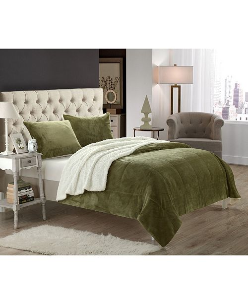 Chic Home Evie 7-Pc King Sherpa Blanket Bedding Set
