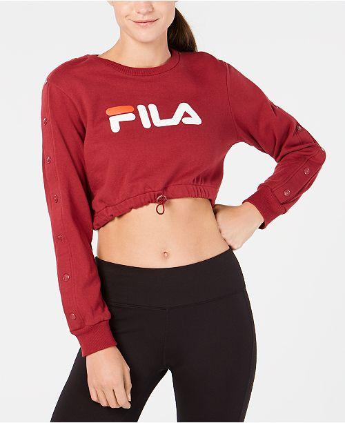 9466506ad1b0 Fila Snap-Sleeve Logo Cropped Sweatshirt & Reviews - Tops - Women ...