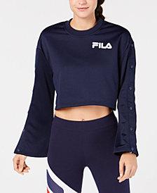 Fila Flared Snap-Sleeve Cropped Sweatshirt