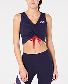 Fila Ruched-Front Cropped Top