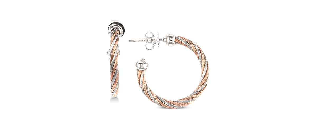 Charriol Two-Tone Cable Twist Hoop Earrings in Sterling Silver & Stainless Steel with Rose Gold Pvd