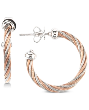 Two-Tone Cable Twist Hoop Earrings in Sterling Silver & Stainless Steel with Rose Gold Pvd