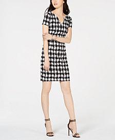 Connected Houndstooth-Print V-Neck Dress
