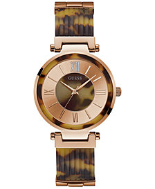 GUESS Women's Tortoise-Look Resin Half-Bangle Bracelet Watch 36.5mm