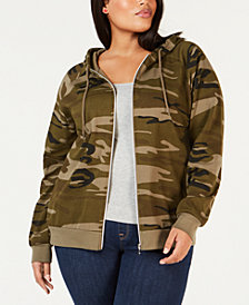 Hybrid Plus Size Camo-Print Zip-Up Hoodie
