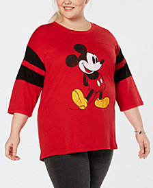 Mighty Fine Plus Size Classic Mickey Mouse Varsity Top