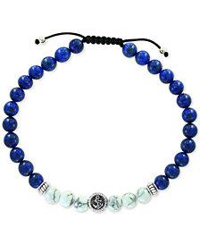 EFFY® Men's Lapis Lazuli (6mm) & Howlite (6mm) Nylon Cord Bolo Bracelet in Sterling Silver