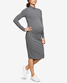 Maternity Ruched Mock-Neck Dress