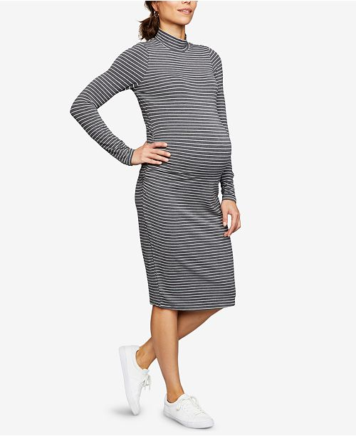 A Pea in the Pod Maternity Ruched Mock-Neck Dress